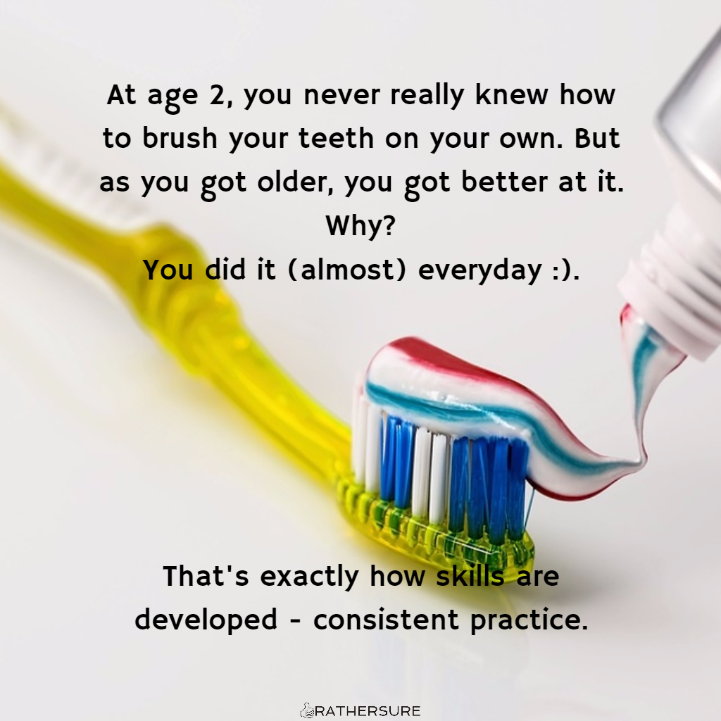 At age 2, you never really knew how to brush your teeth on your own. But as you got older, you got better at it. Why? You did it (almost) everyday :). That's exactly how skills are developed - consistent practice. [How Flo Madubike Built A Digital Business From Her Cooking Skills]