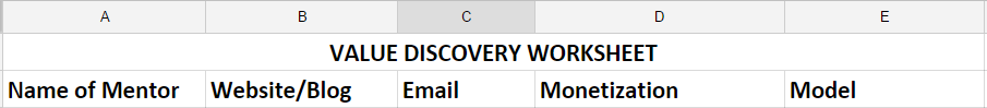 value discovery worksheet